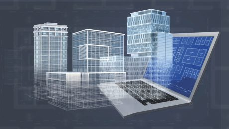Office buildings Laptop CAD 3D Rendering